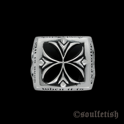 Inexes Onyx Signet Silver Ring