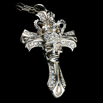 Crown Skull Cross Pendant II