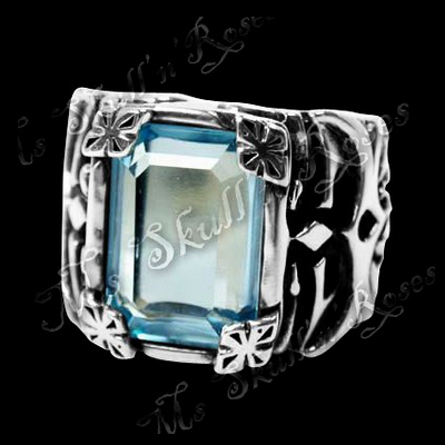 Step Deco Blue Topaz Ring