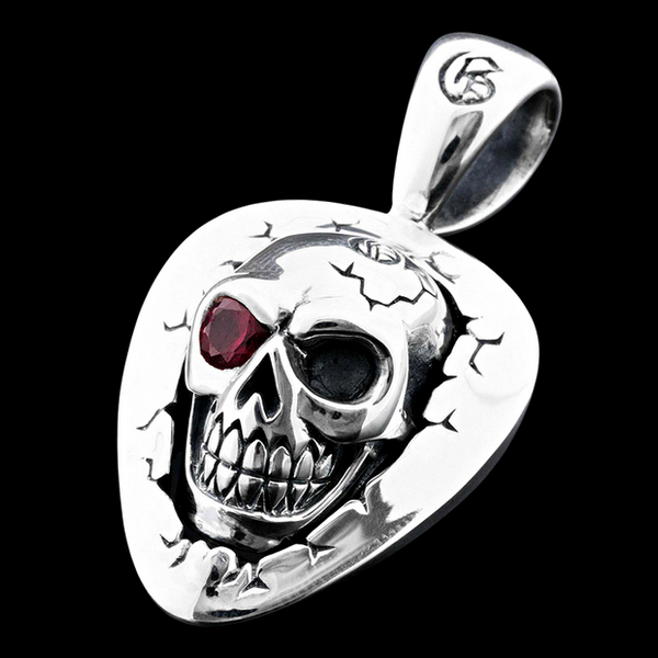 Skull Pick Pendant Red Eye