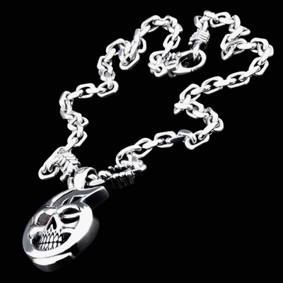 Skull Face Silver Necklace