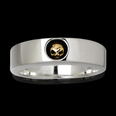 Skull Band Ring with 14k