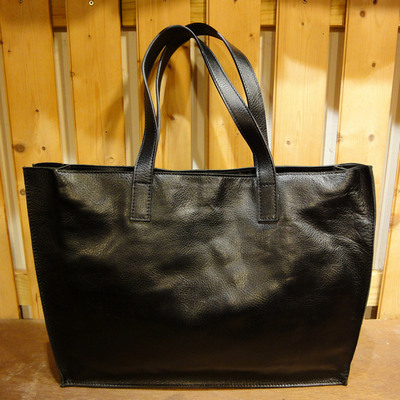 W Black Wide Leather Tote