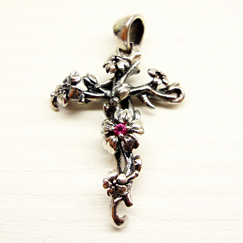 Cherry Blossom Cross Pendant