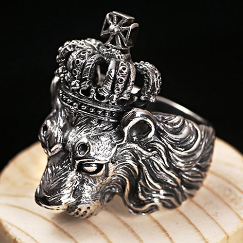 Silver Crown Lion Ring