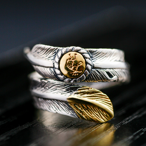 Sterling 2 Tone Feather Ring